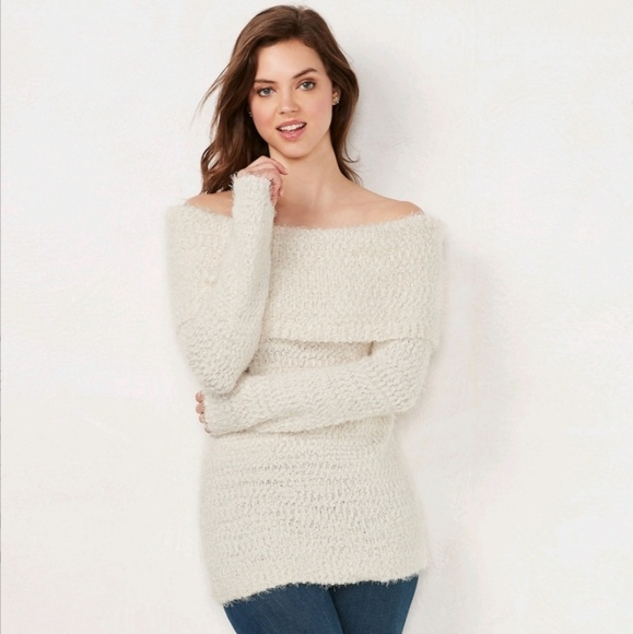 NWT Lauren Conrad Gorgeous Ultra Soft Off Shoulder Chenille Sweater